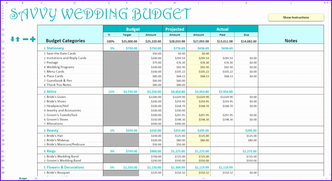 Savvy Wedding Bud Turquoise Excel Template Screen View Example