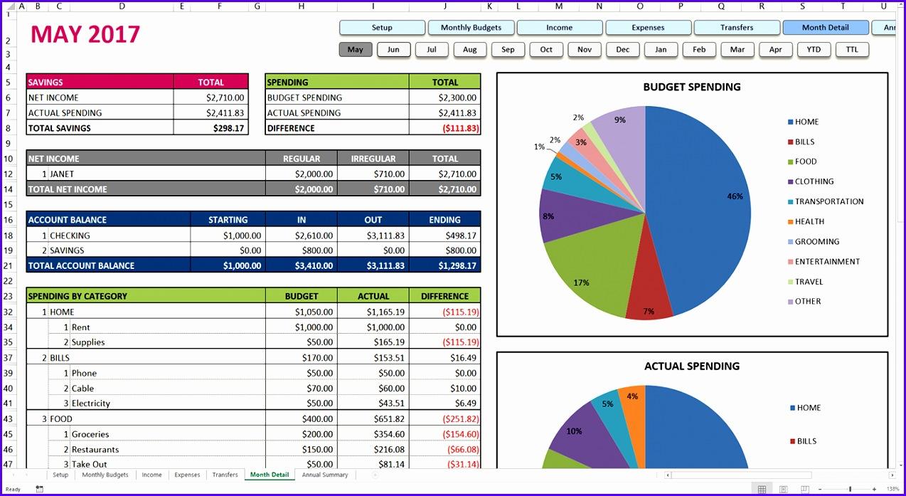 Premium Excel Bud Template Month Tab 1274697