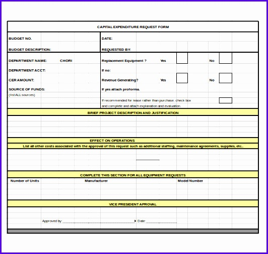 Capital Expenditure Bud Request Form Excel 532506