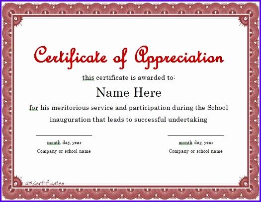 Certificate of Appreciation 01 525407