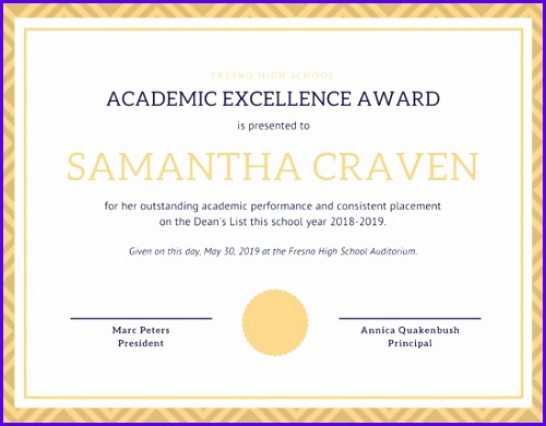 Gold Blue Academic Excellence Student Certificate
