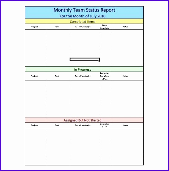 Sample Monthly Team Status Report 546552