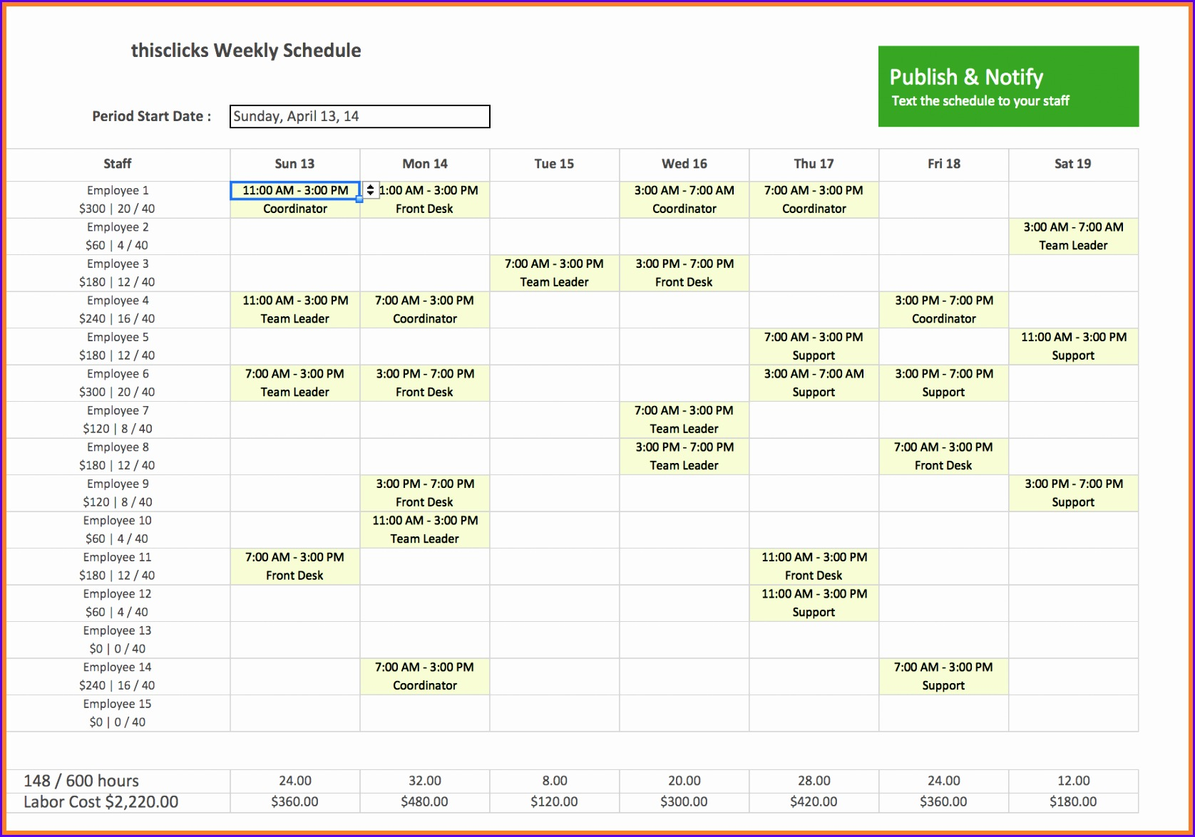 13 excel employee schedule template weekly 16761175