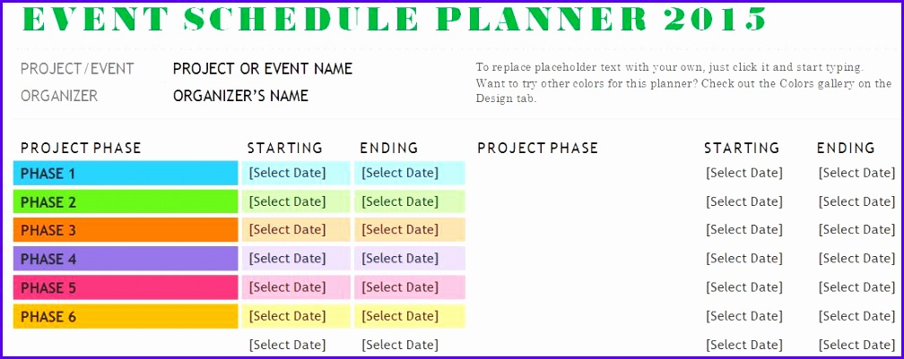 Sample Event Schedule Planner Template 1008401