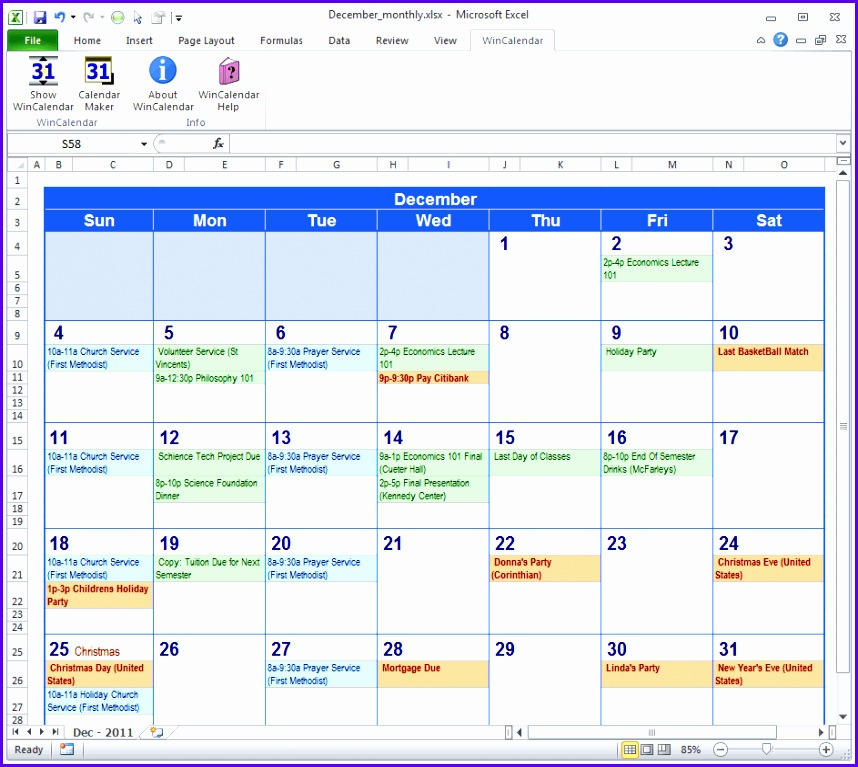 Monthly calendar in Excel 858767
