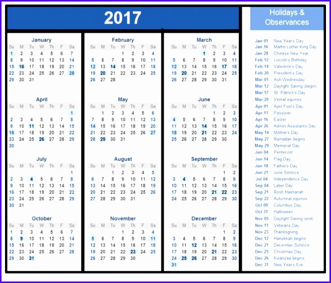 2018 excel calendar with holidays e 657562