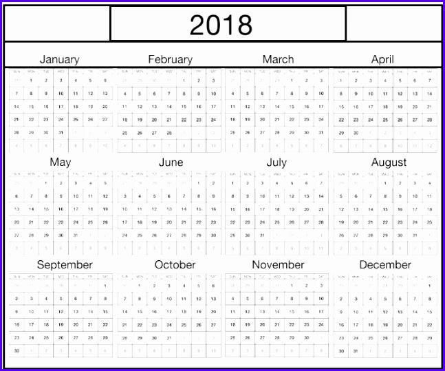 Weekly & Yearly Excel 2018 Calendar Template 647539