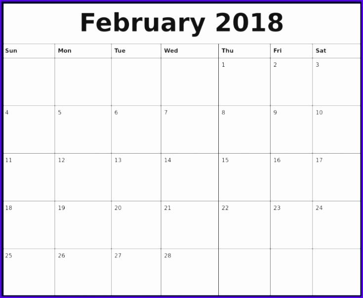 February 2018 Calendar Excel Template 735603