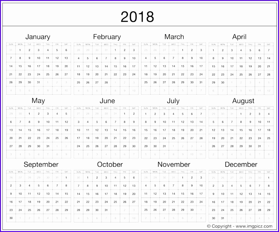 2018 Calendar Editable Word 2018 Calendar Template Excel Word Printable