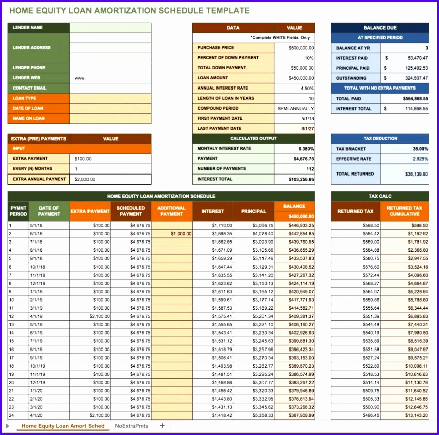 Home Equity Loan Amortization Schedule Template 873865