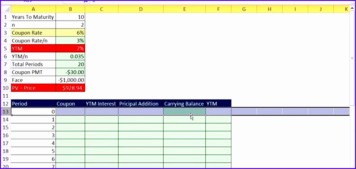 How to Create a bond discount or premium amortization table in Excel Microsoft fice WonderHowTo 1164552