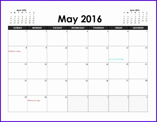 2016 Excel Calendar Planner