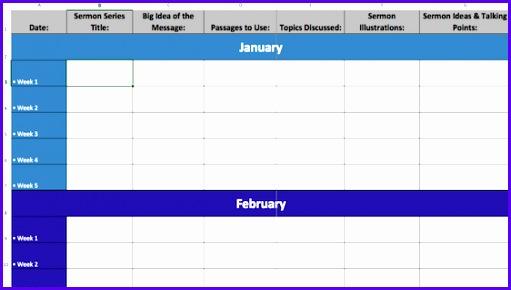 2017 Excel Sermon Calendar Template 511290