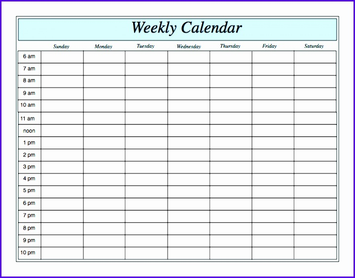 Excel Calendar Template Weekly  Exceltemplates  Exceltemplates