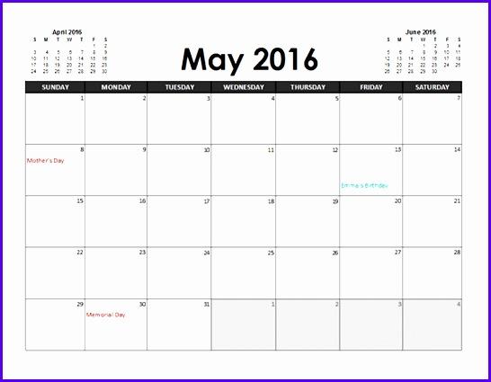 Sample Excel Calendar Templates Free H6wdz Luxury 2016 Excel Calendar Planner Free Printable Templates 600462