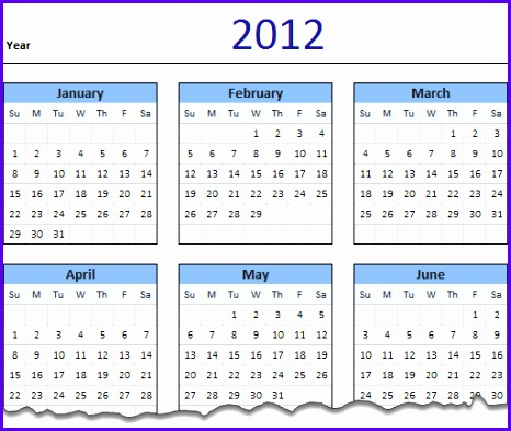 2012 Calendar – Excel Template Downloads 466393