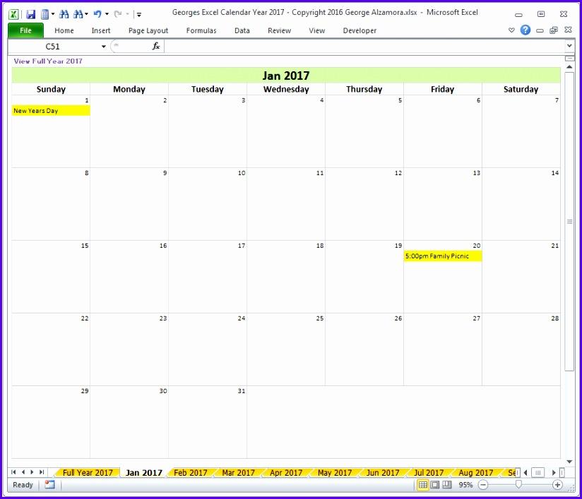 Year 2017 Excel Calendar Template Monthly Calendar Spreadsheet 824707