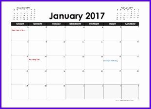 2017 Excel Calendar Planner 311224
