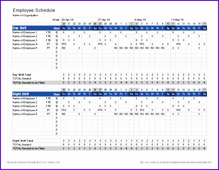 Employee Schedule Template 728568