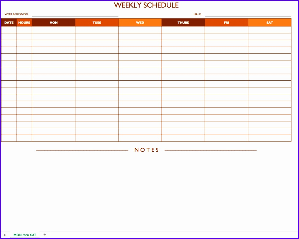 Mon Sat Weekly Work Schedule Template with Notes 975779