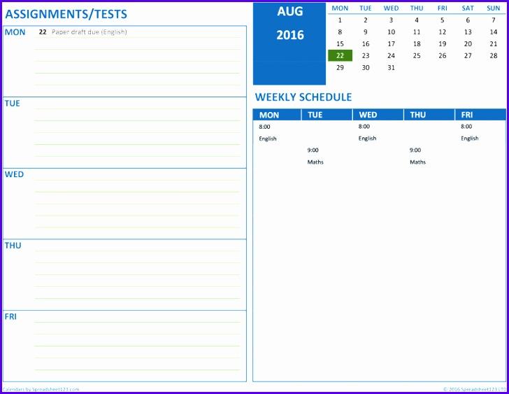 Student Schedule 728563