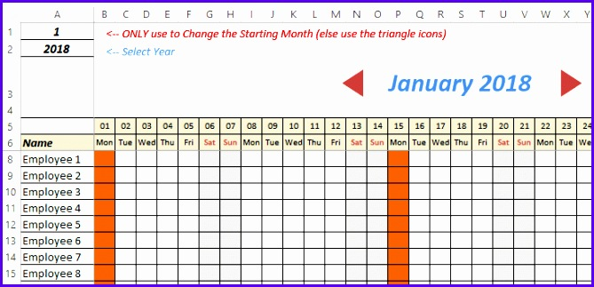 Excel Leave Tracker 2018 Change Months Scroll Bar attendance vacation tracker 669323