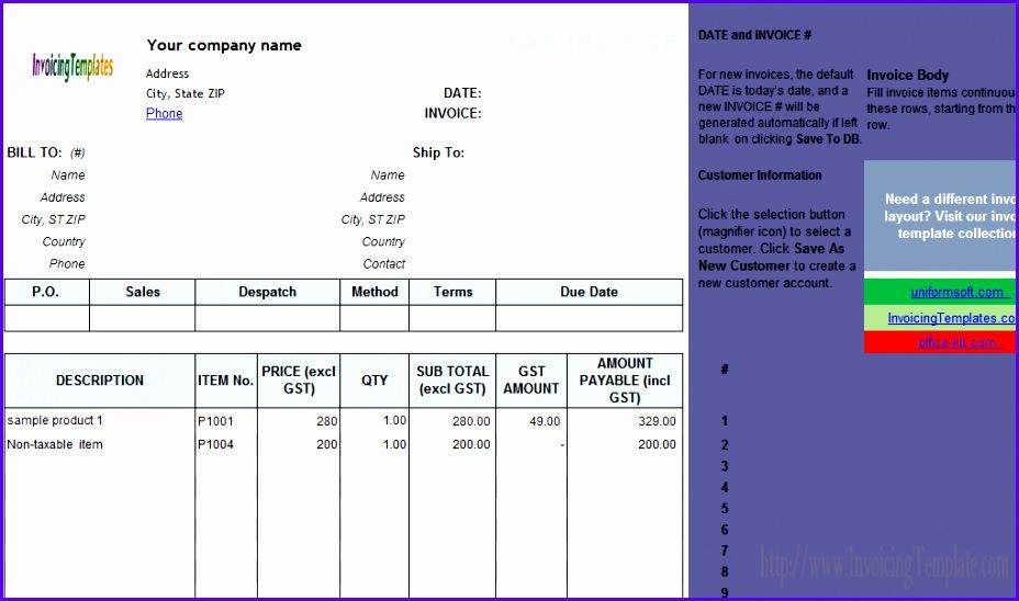 Australian Gst Invoice Template 2 Excel Invoice Template Australia