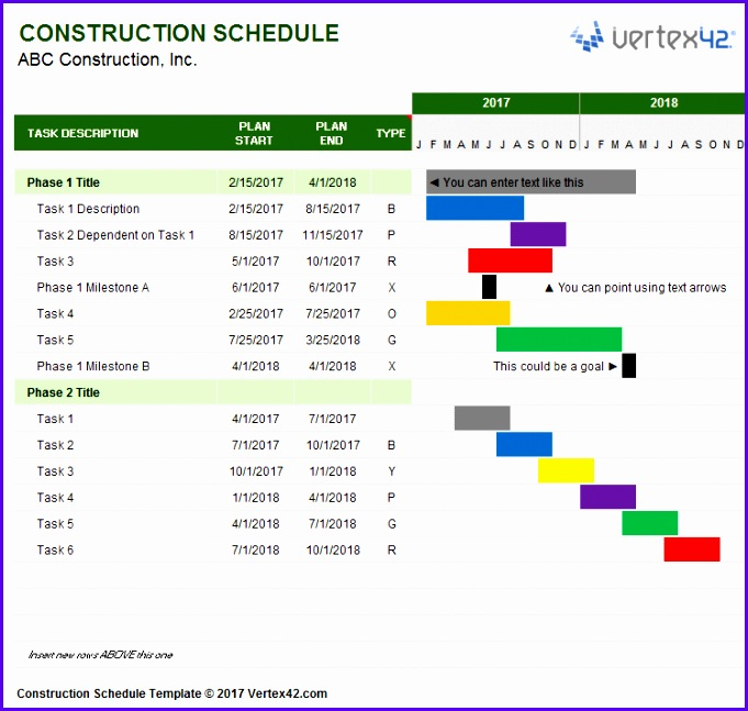Free Excel Project Management Tracking Templates Construction Schedule Template