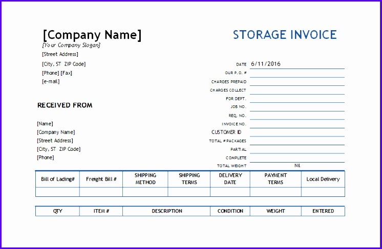 Storage Invoice Template 746487