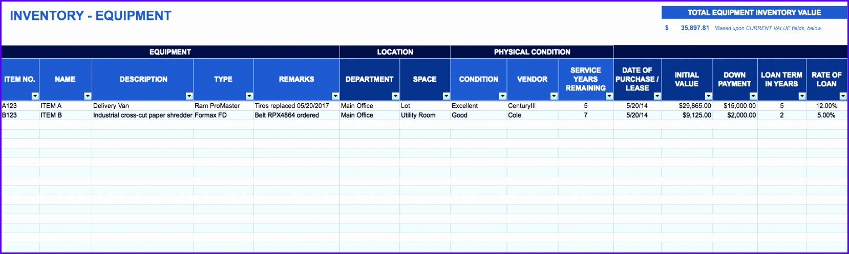 Equipment inventory template Download Excel Template 1658497