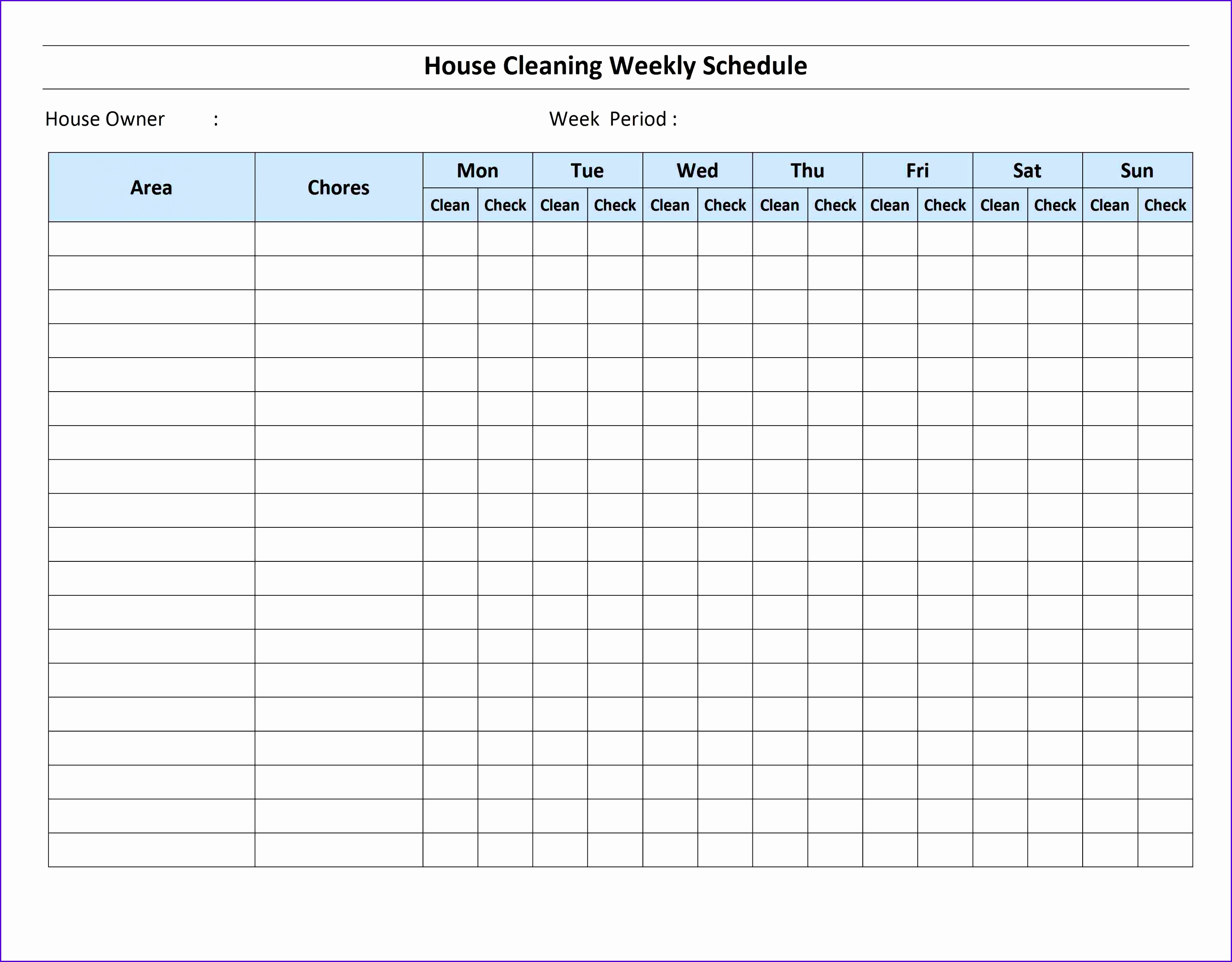 Sample Excel Template Weekly Schedule Tuhfq Inspirational Cleaning Schedule Template 33002550