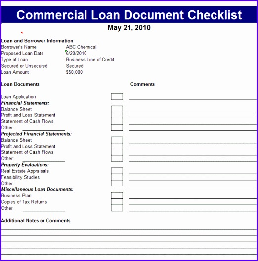 Below is the preview image and link of this wonderful mercial Loan Document Checklist Template 522529
