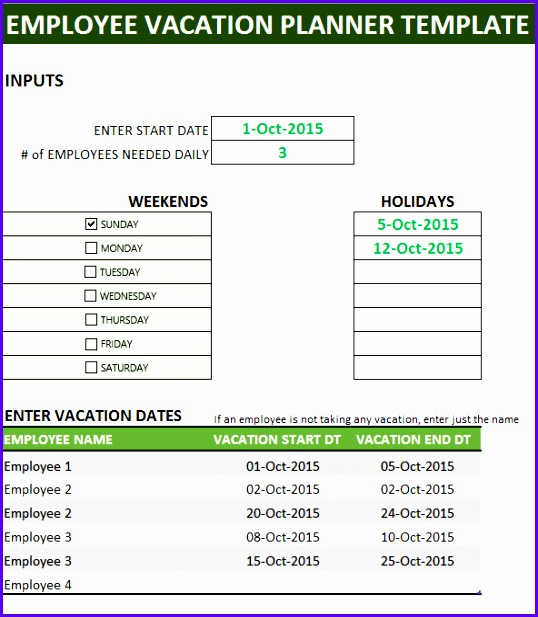 Inputs needed for Employee Vacation Planner template 538617