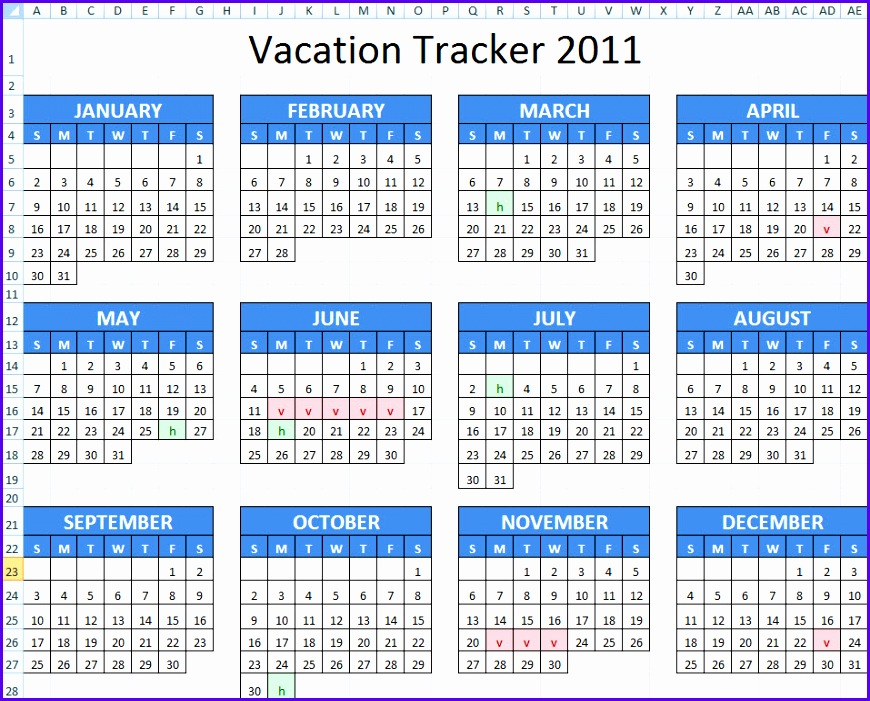 Vacation Schedule Excel Template 870701