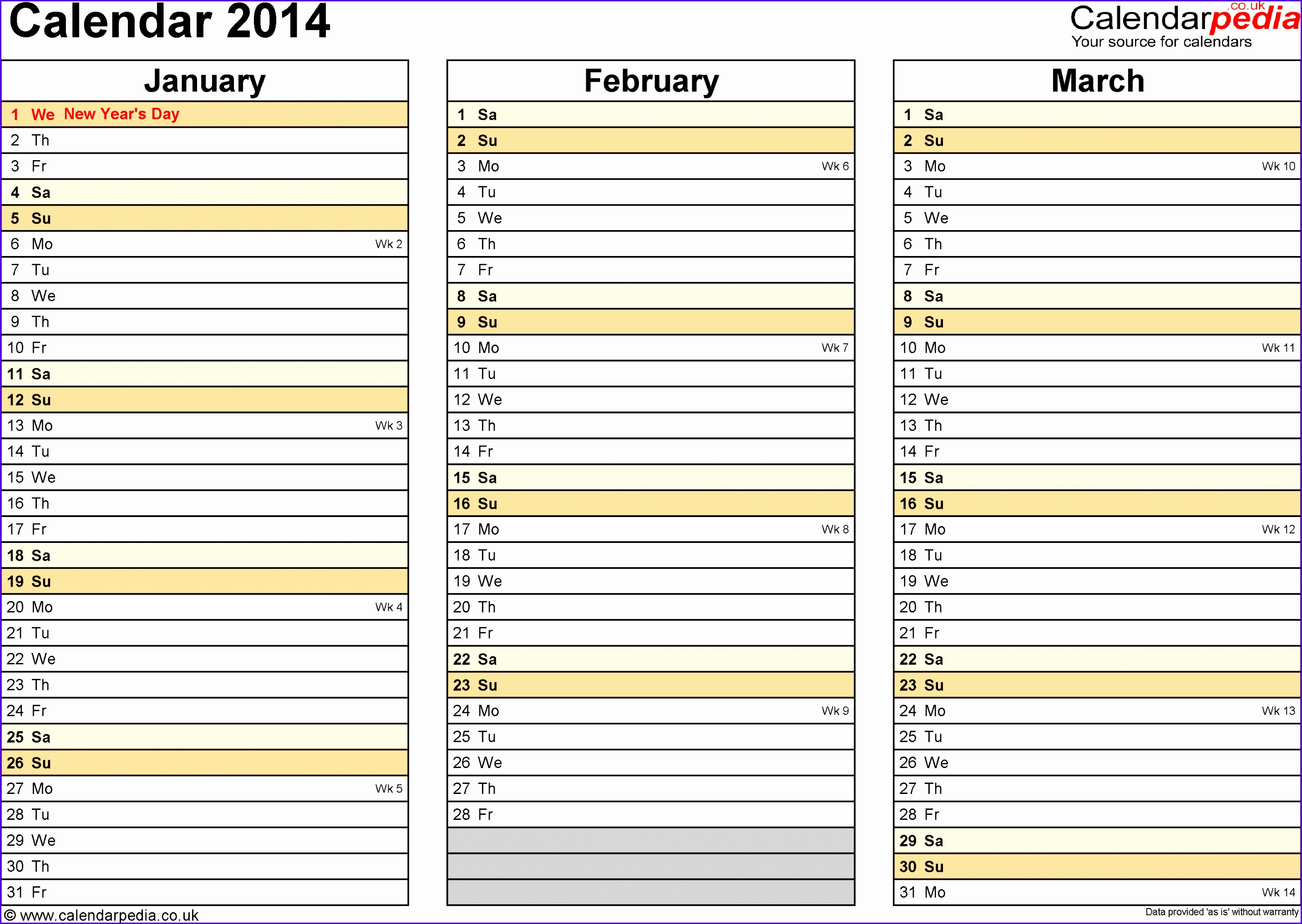 Template 5 Yearly calendar 2014 as Excel template landscape orientation 4 pages 28612032