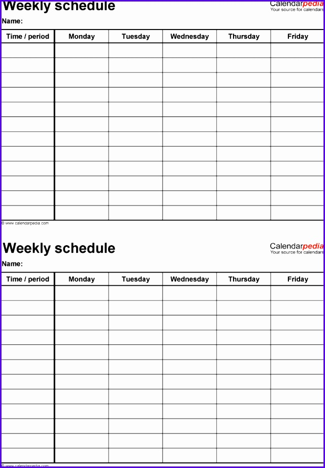 Weekly schedule template for Excel version 4 2 schedules on one page portrait 640920