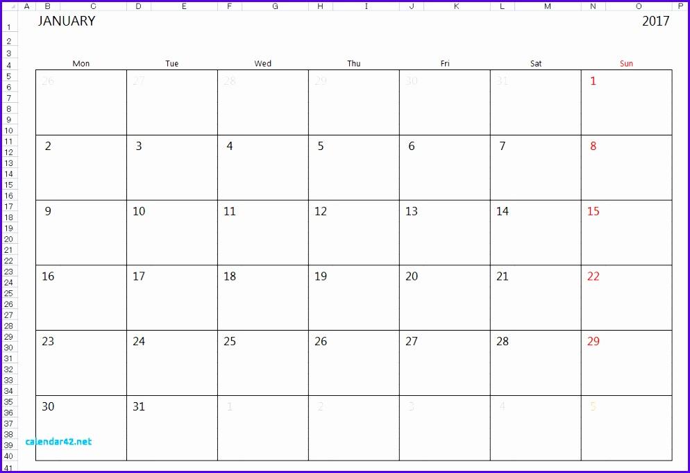 Simple 2017 2018 Excel Calendar Template 994681