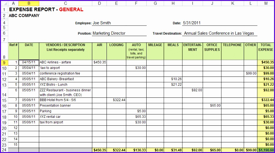 expense sheets excel