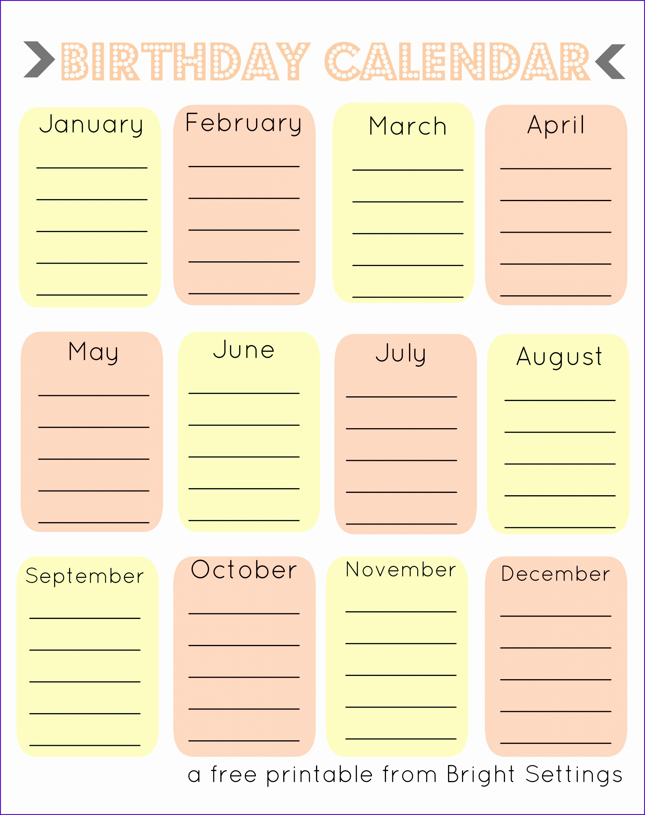 blank birthday calendar free printable birthday calendar templates 21842760