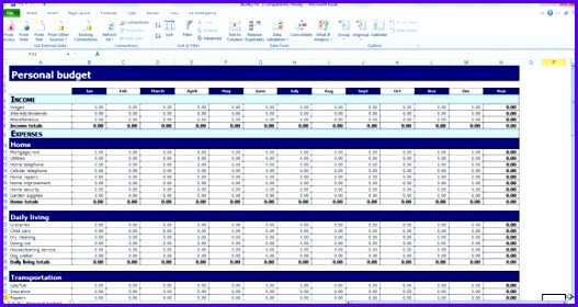 Free Personal Bud Template for Excel 527280