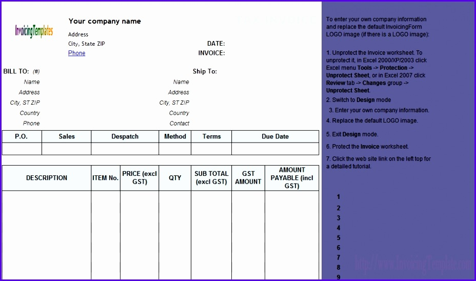 Sample Invoice Template for Excel 2007 S9sdu Fresh Invoice Template Excel Australia 1020596