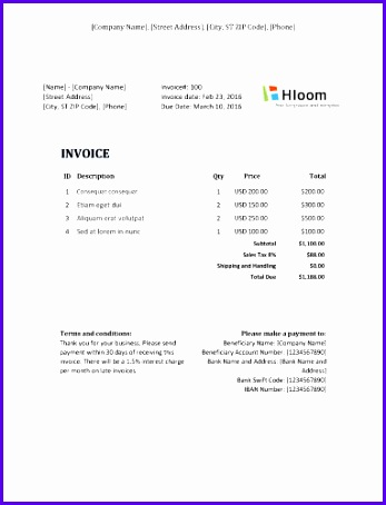 Modern Professional Invoice Sample Excel 347454