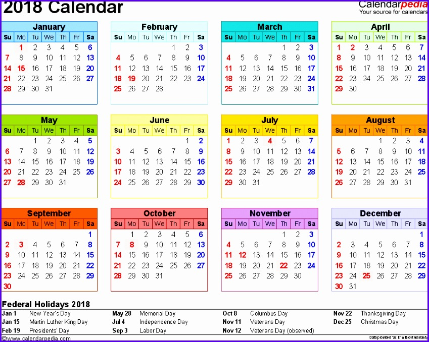 Template 8 2018 Calendar for Excel year at a glance 1 page