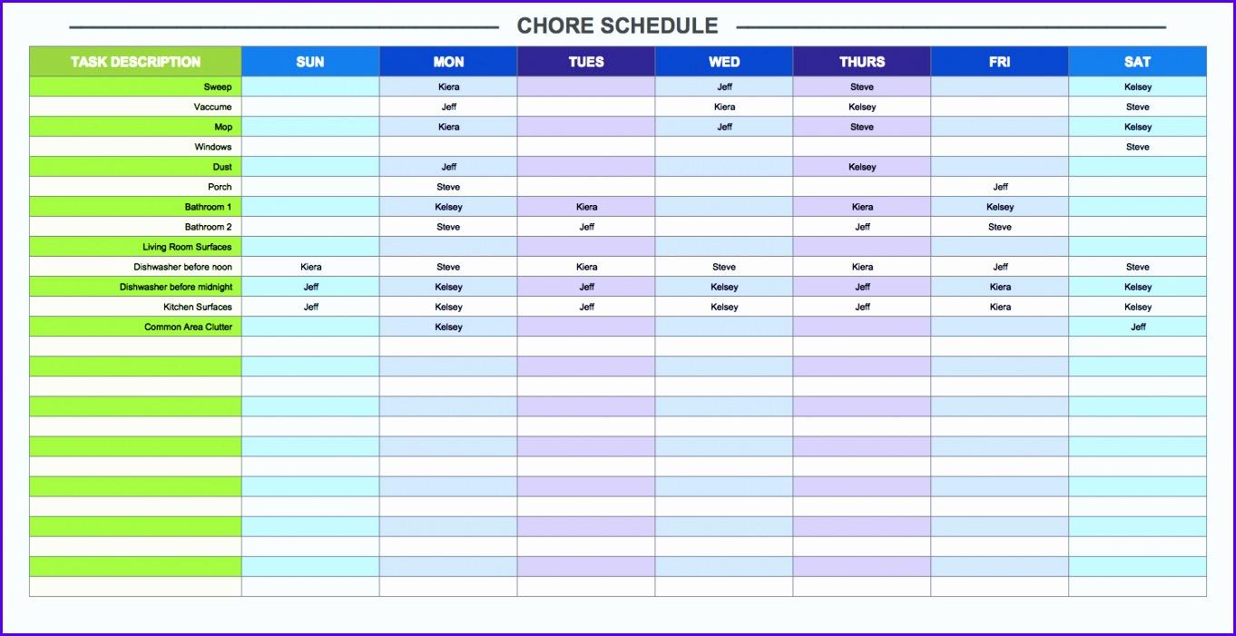 Chore Schedule Template 1362701