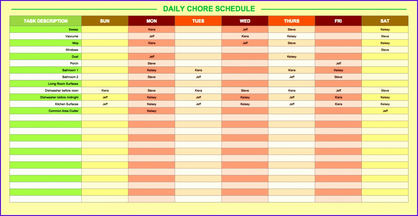 Daily Chore Schedule Template 1360702