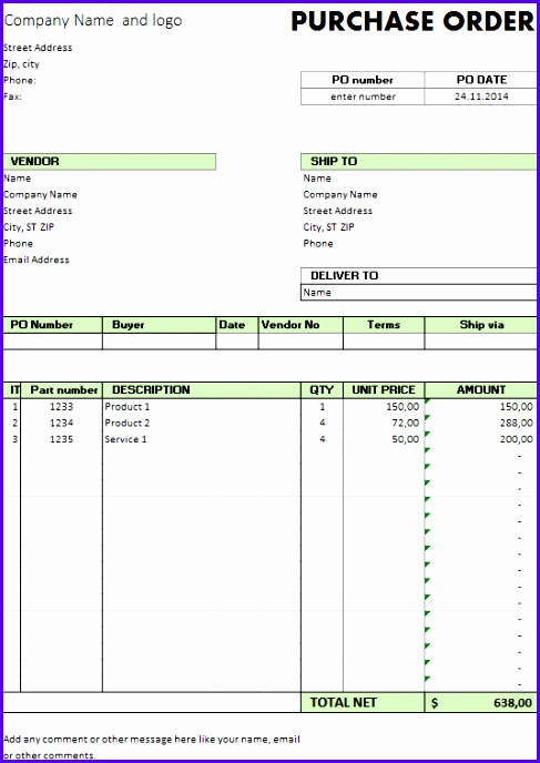 purchase order template 487688