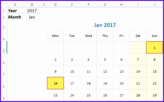 Monthly Excel Calendar Demo 2017 & 2018