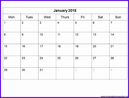calendar template for 2018 425322