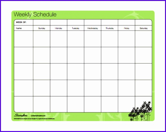 Free Download Weekly Family Schedule Template PDF Format 532423