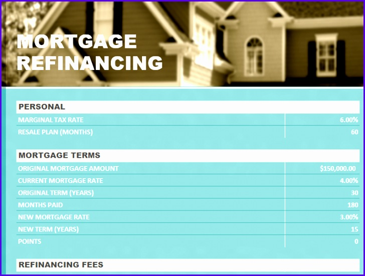 8 mortgage template excel - exceltemplates